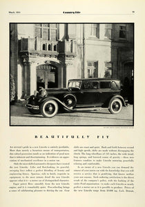 1931 Ad Lincoln Judkins Two-Window Berline Automobile Vintage Motor Vehicle COL2