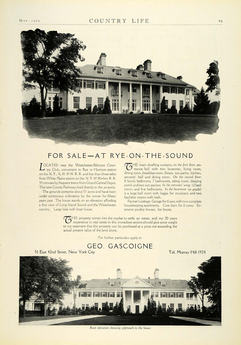 1929 Ad Geo. Gascoigne Westchester-Biltmore County Club New York House COL2