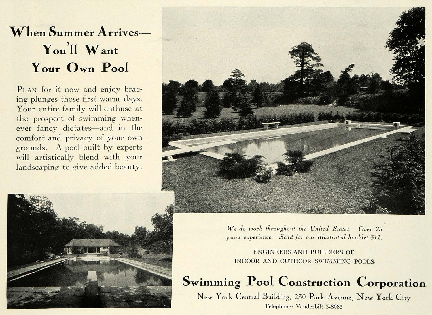 1931 Ad Swimming Pool Construction Corp  New York Outdoor Home Improvement  COL2