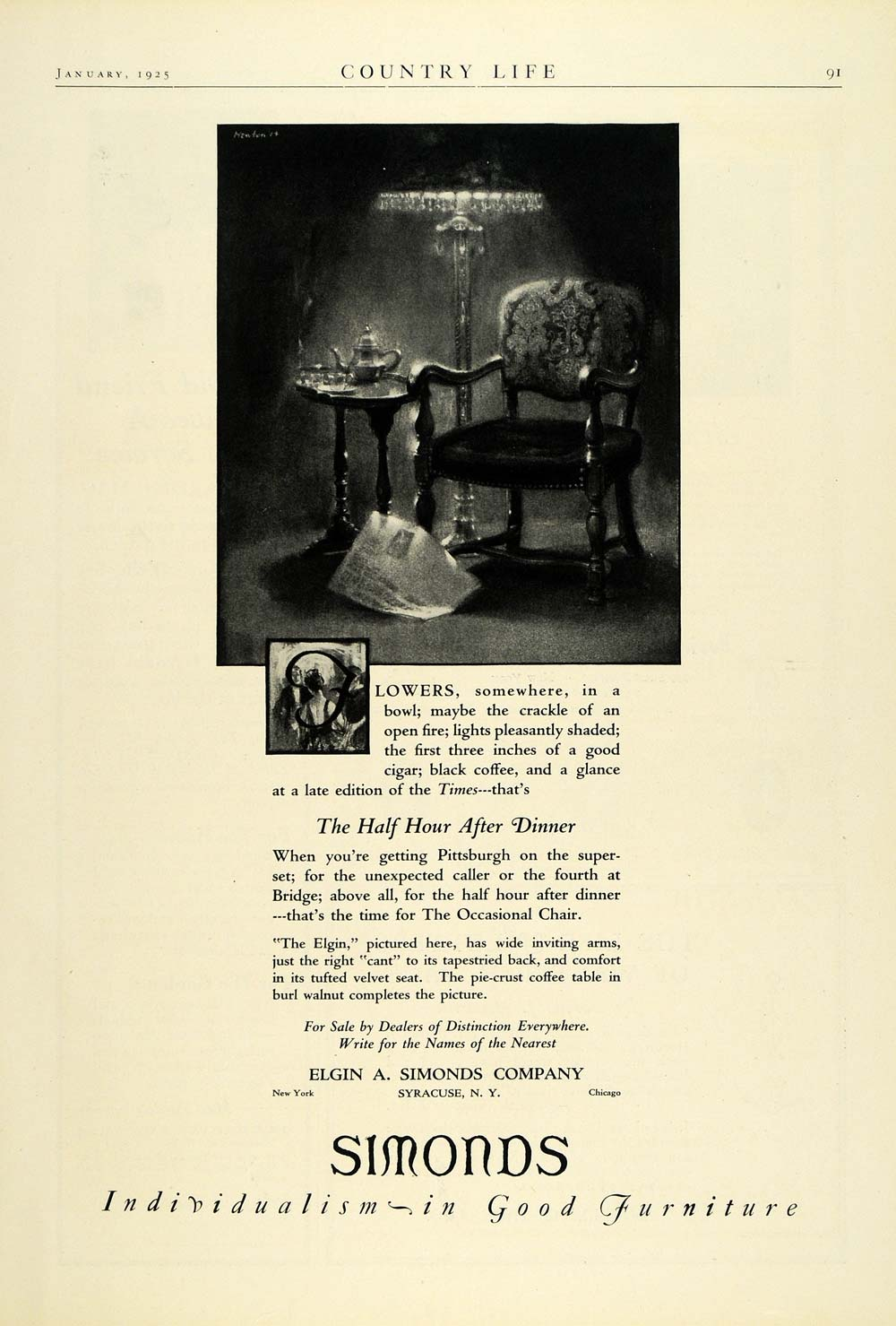 1925 Ad Simonds Elgin Co Syracuse Upholstered Occasional Chair Furniture COL2