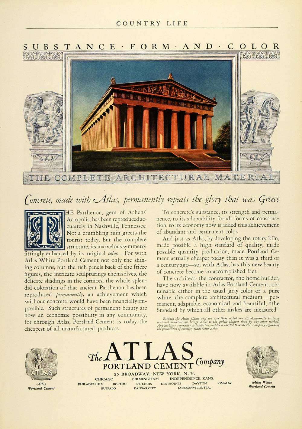 1925 Ad Atlas Portland Cement Co Broadway New York Parthenon Building COL2