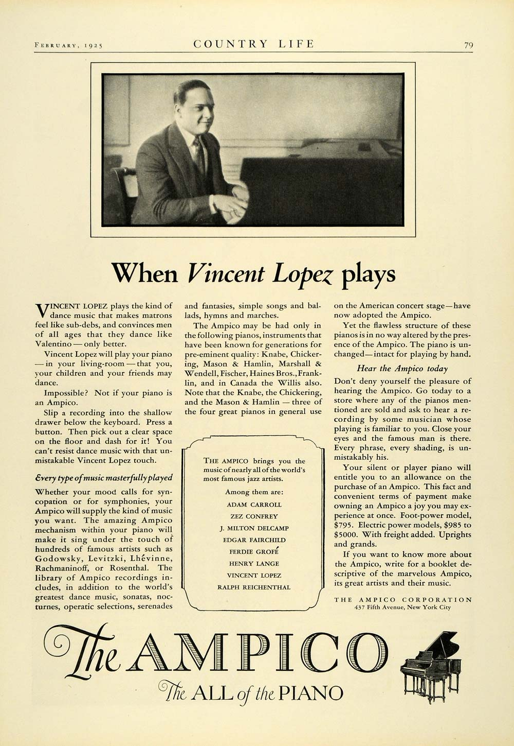 1925 Ad Ampico Corporation New York City Vicent Lopez Piano Musical COL2