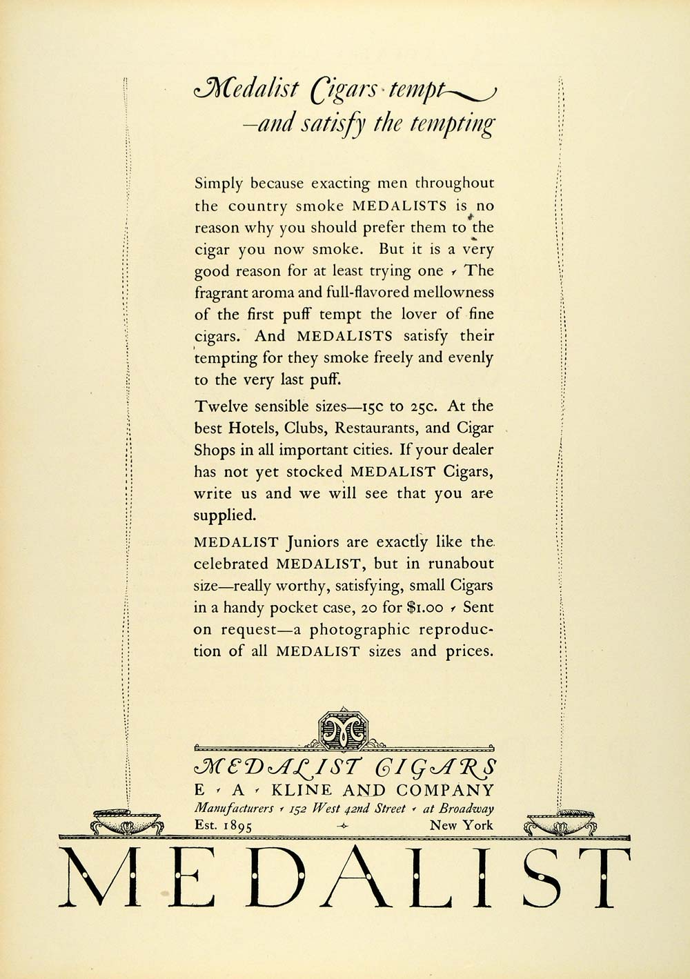 1925 Ad Medalist Cigars Broadway Smoking Products Tobacco E A Kline Co New COL2