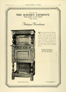 1925 Ad Hayden Co Antique Furniture Jacobean Oak Cupboard Carved Home Decor COL2