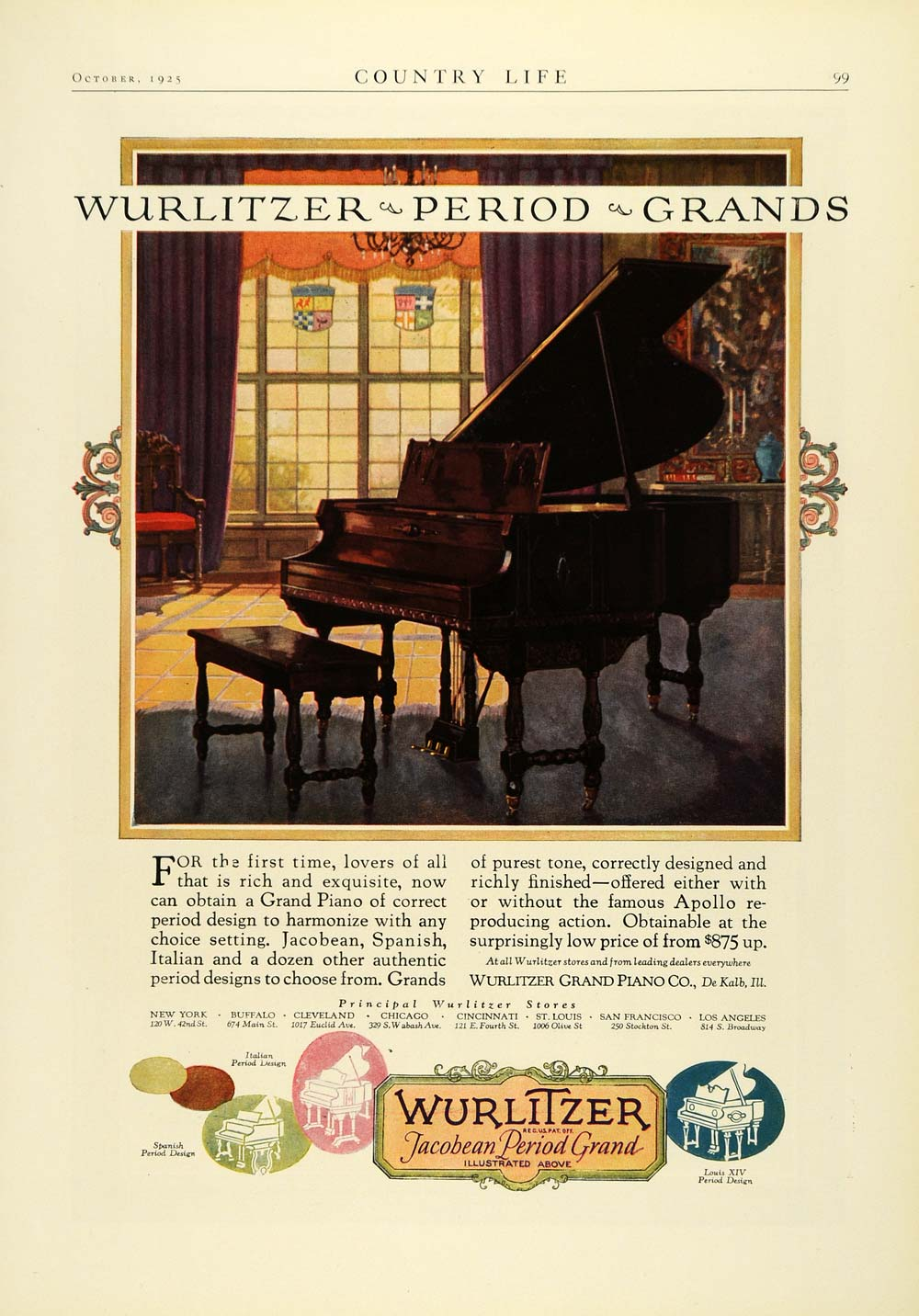 1925 Ad Wurlitzer Piano Jacobean Period Musical Instrument Antique Louis COL2
