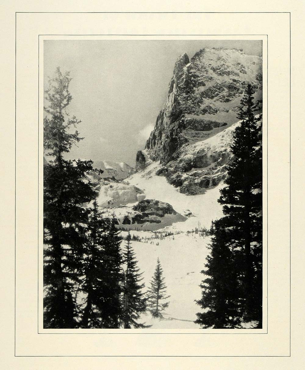 1931 Print Notchtop Mountain Rocky Mountain National Park Landscape Lake COL3