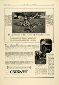 1927 Ad Antique Coldwell Electric Push Lawn Hand Mowers Landscaping Tools COL3