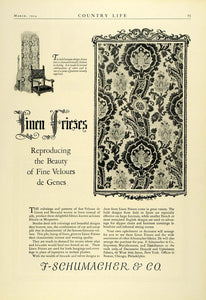 1924 Ad F Schumacher Linen Fabrics Velour Baroque Design Friezes Household COL3