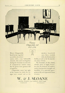 1924 Ad W. J. Sloane Thomas Chippendale 1700s Dining Room Furniture COL3