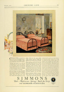 1924 Ad Simmons Bedding Mattress Furniture Twin Beds Home Decor Furnishings COL3