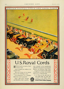 1924 Ad United States Rubber Royal Cord Tires Antique Cars Horse Polo COL3
