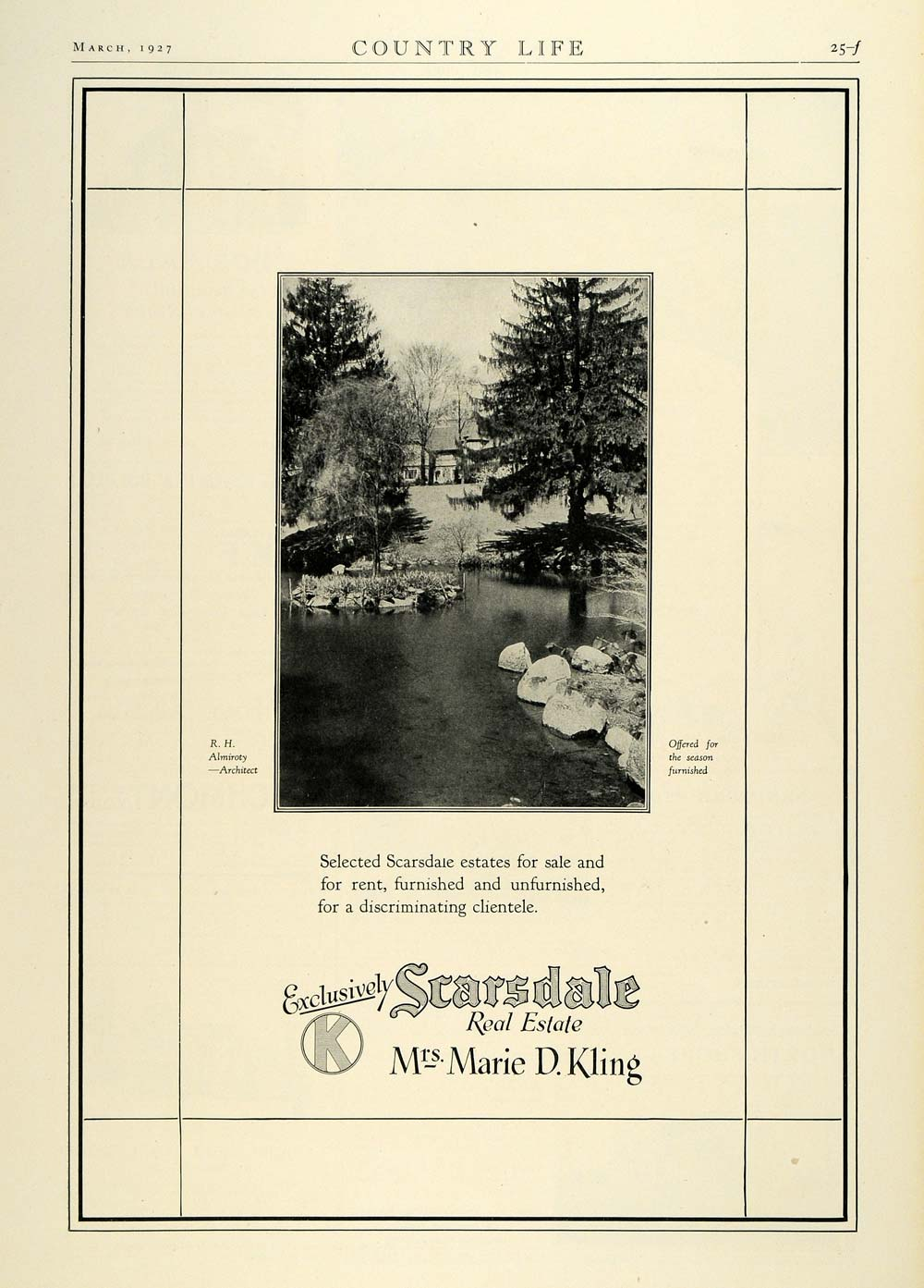 1927 Ad Marie D. Kling Scarsdale Real Estate Realty R. H. Almiroty COL3