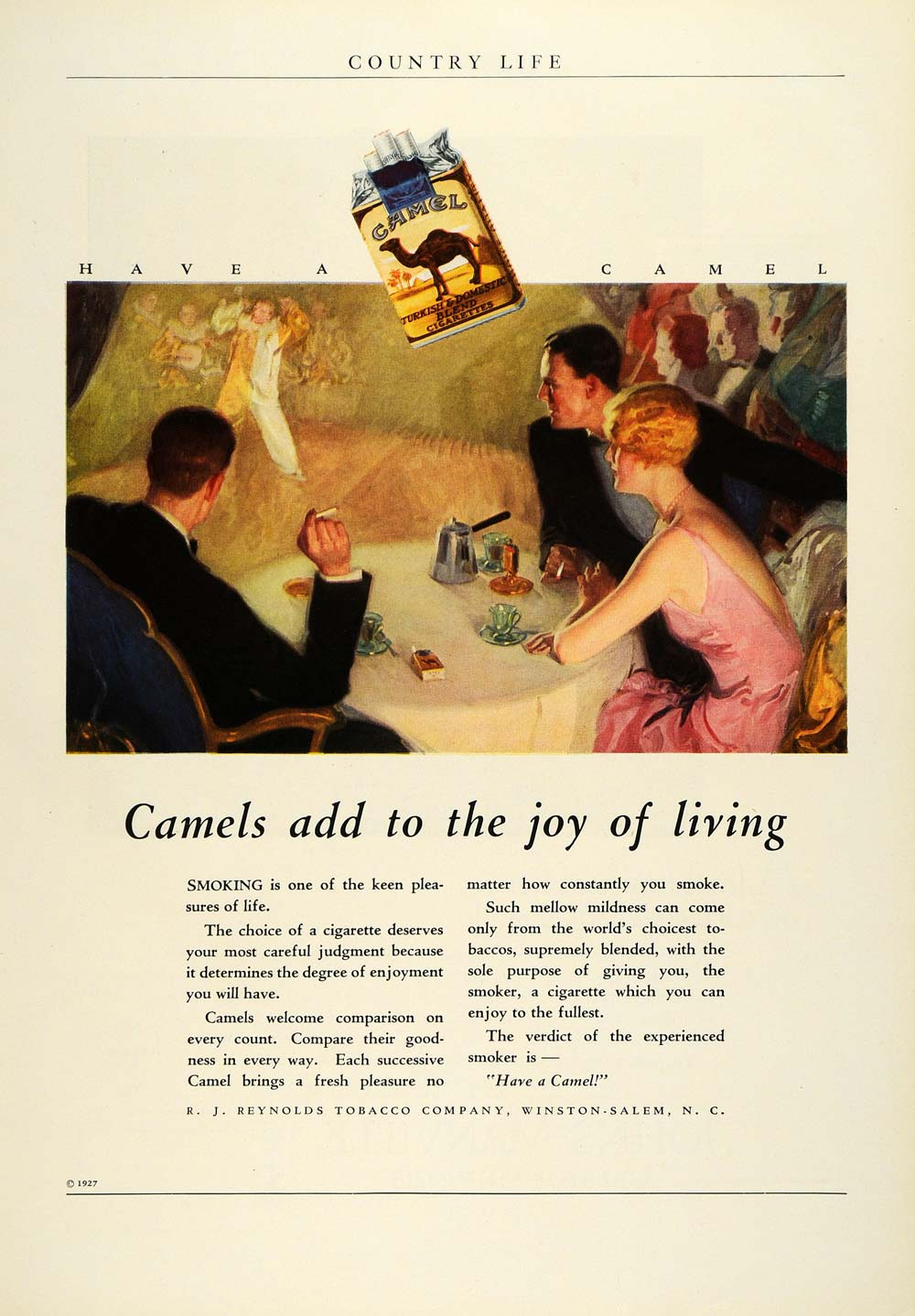 1927 Ad Camel Cigarettes R.J. Reynolds Tobacco Circus Live Entertainment COL3