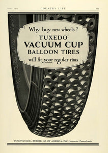 1924 Ad Tuxedo Vacuum Cup Balloon Tires Jeannette Pennsylvania Rubber Car COL3