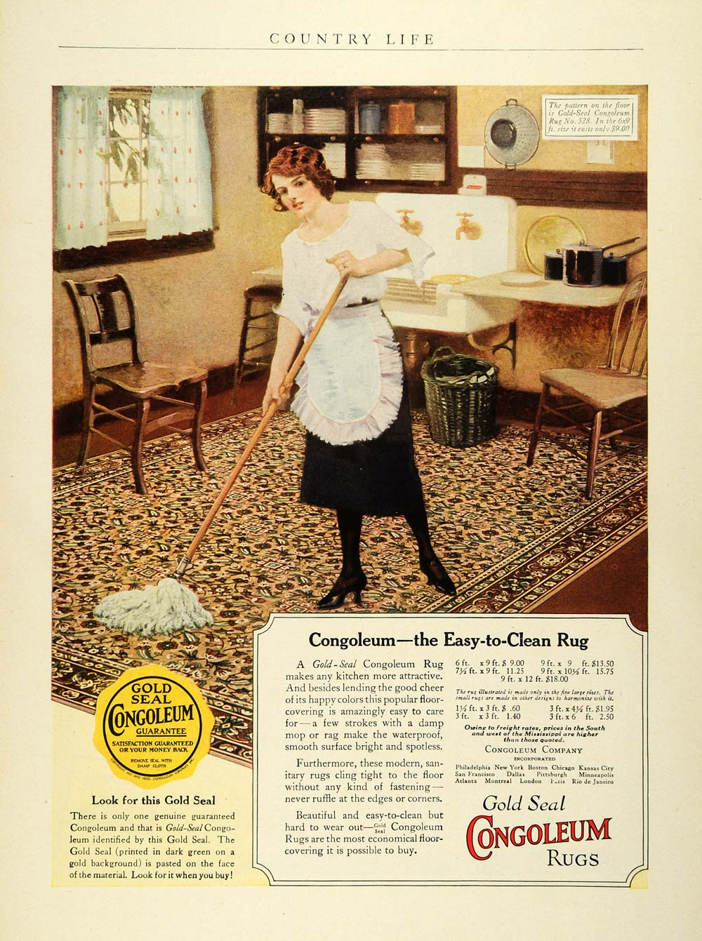 1923 Ad Congoleum Gold Seal Rugs Floor Coverings Home Decor Maid Mop COL3
