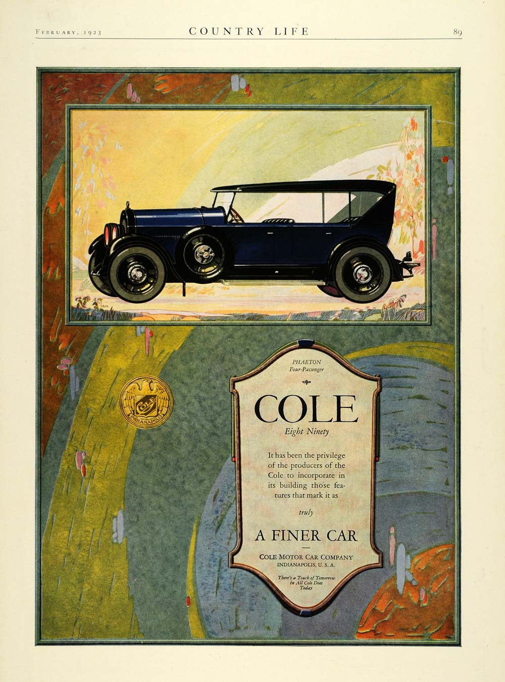 1923 Ad Antique Enclosed Convertible Cole American Motor Car Phaeton COL3