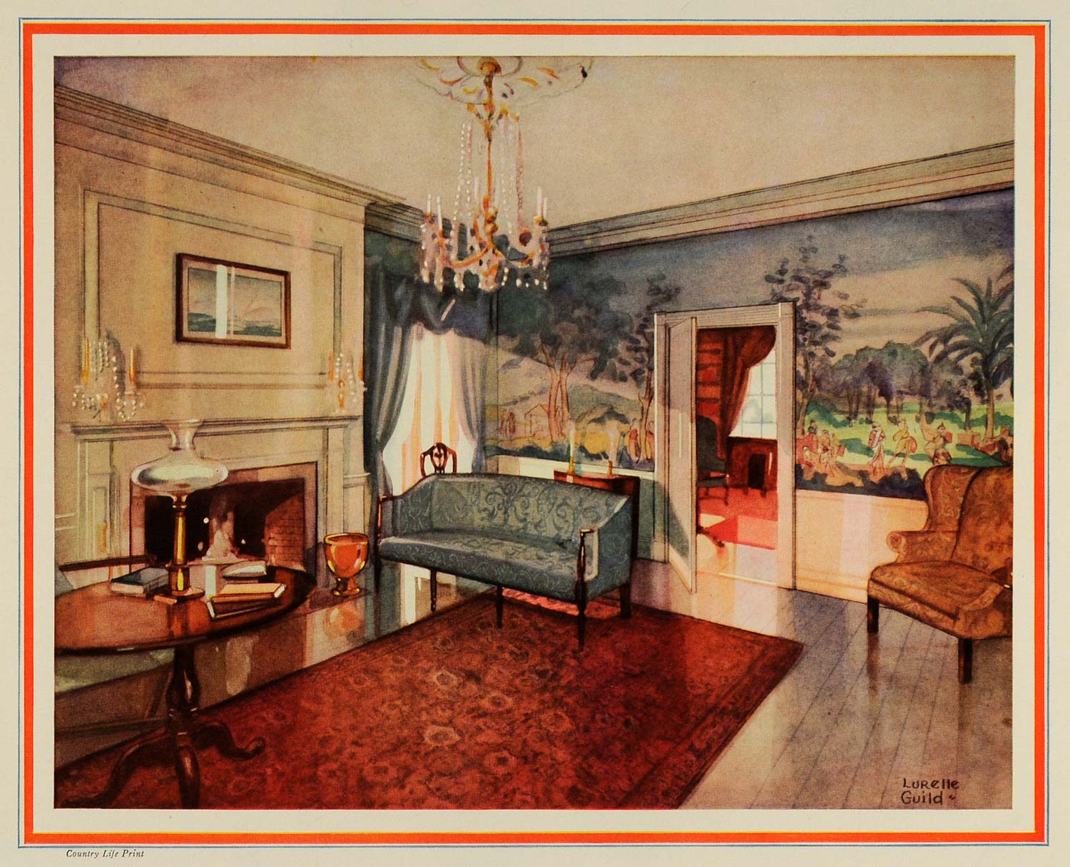1927 Print Moors End Parlor Nantucket Massachusetts Interior Decoration COL3