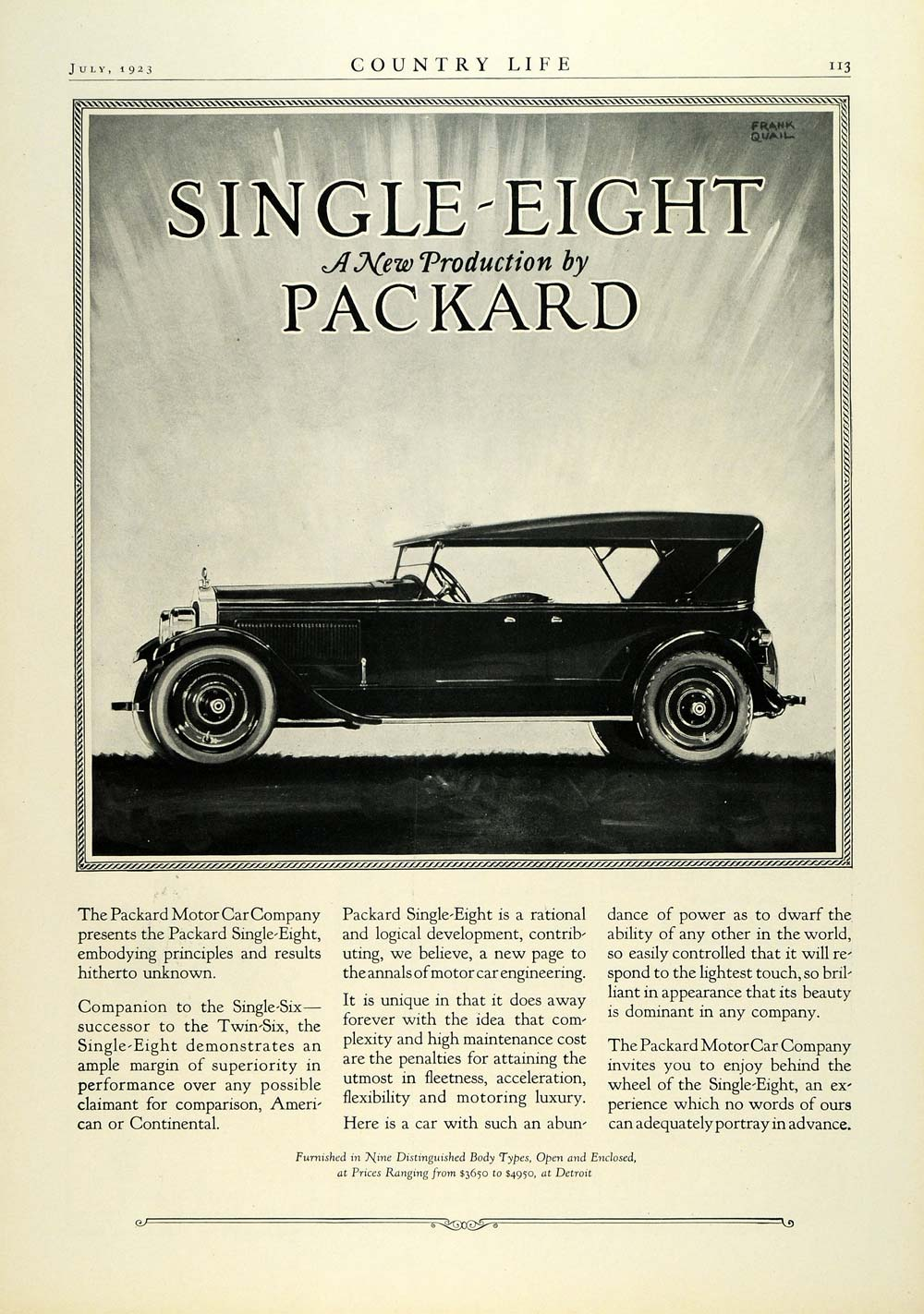 1923 Ad Packard Motor Car Co Single-Eight Automobile Vintage Car Frank COL3