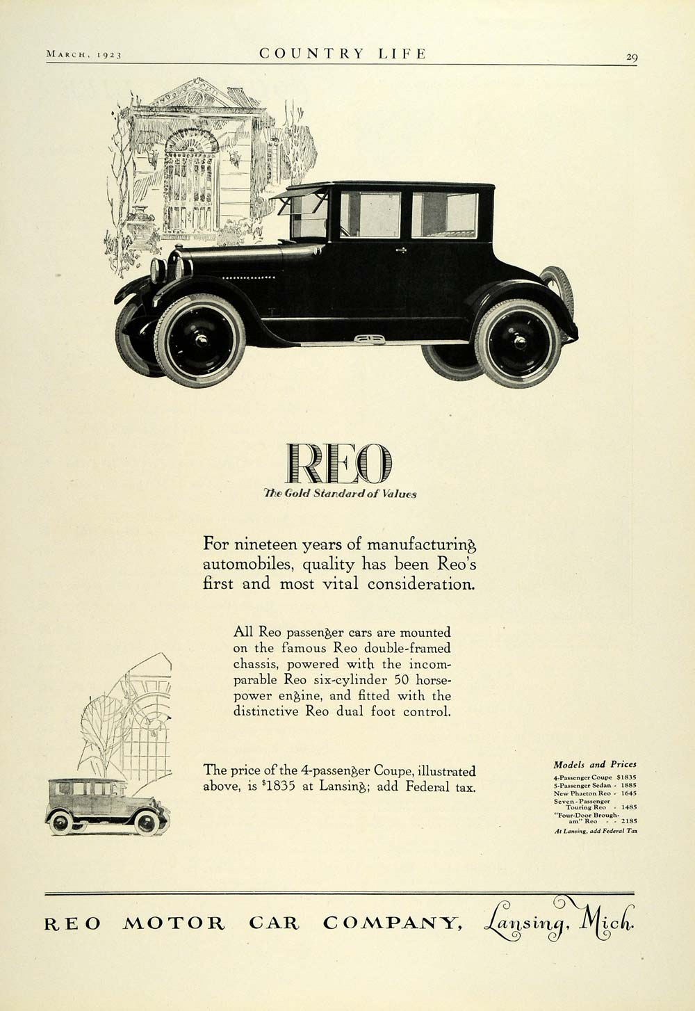 1923 Ad Reo 4-Passenger Coupe Lansing Automobile Vintage Motor Car Co COL3