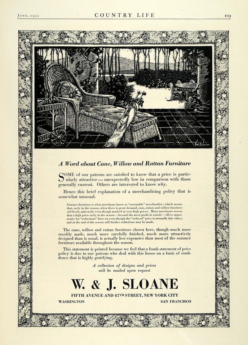 1922 Ad W & J Sloane New Yorky Wicker Furniture Rattan Vintage Clubs Chair COL3