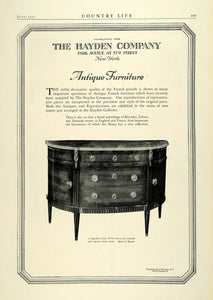 1922 Ad Hayden Co Antique Furniture Louis XVI Commode Roussei Reproductions COL3