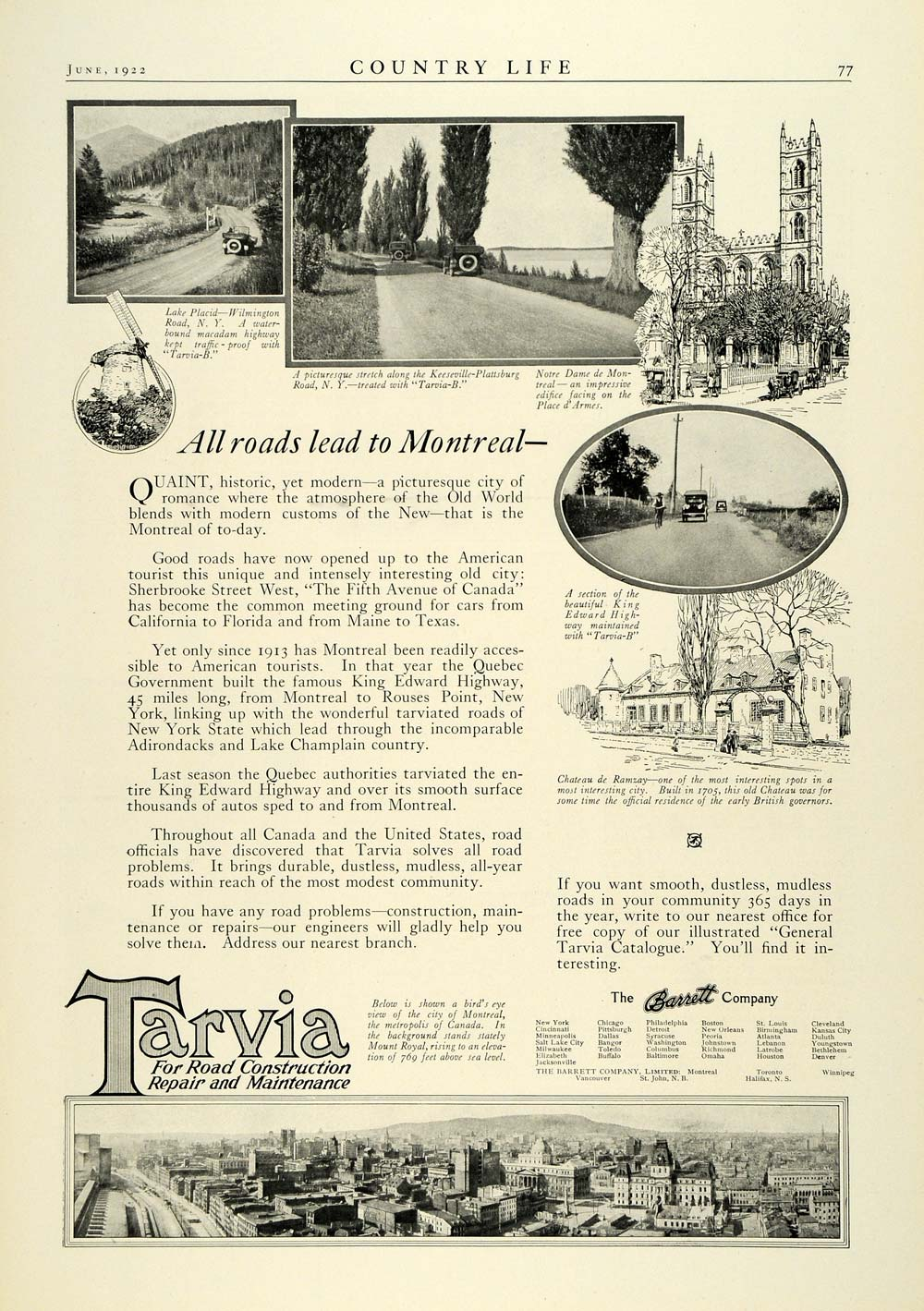 1922 Ad Tarvia Lake Placid Wilmington St Barrett Bird's Eye Montreal City COL3