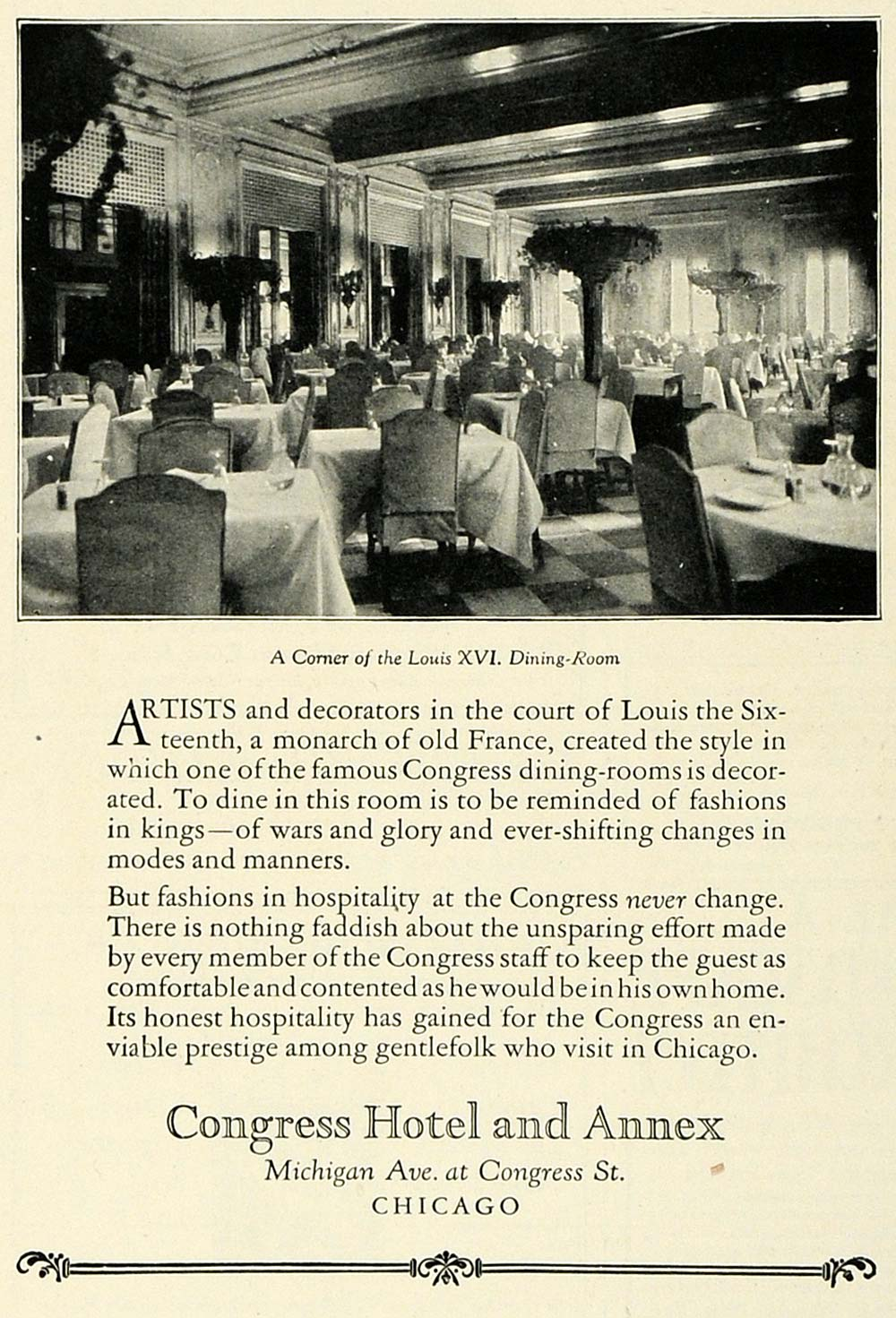 1922 Ad Historic Congress Hotel Chicago Luxury Lodging Louis XVI Dining COL3