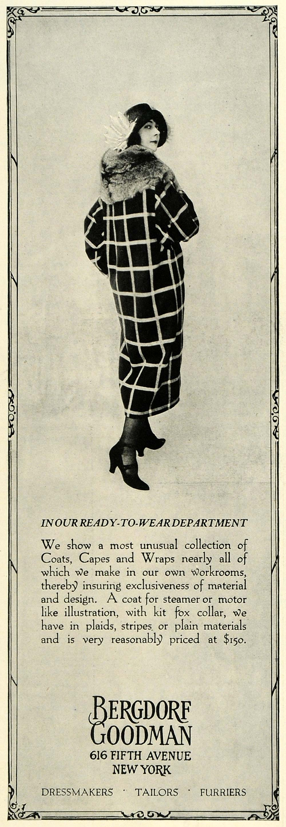 1922 Ad Bergdorf Goodman Retail Store Fur Coats Fashion Clothing Price New COL3
