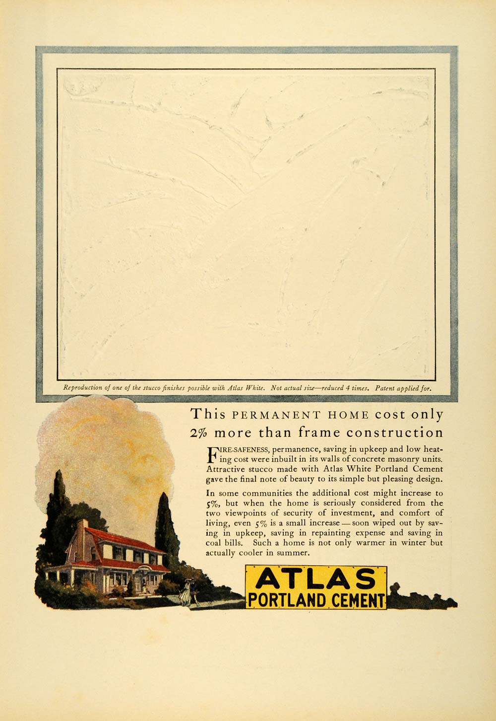 1923 Ad White Atlas Portland Cement Home Construction Building Materials NY COL3