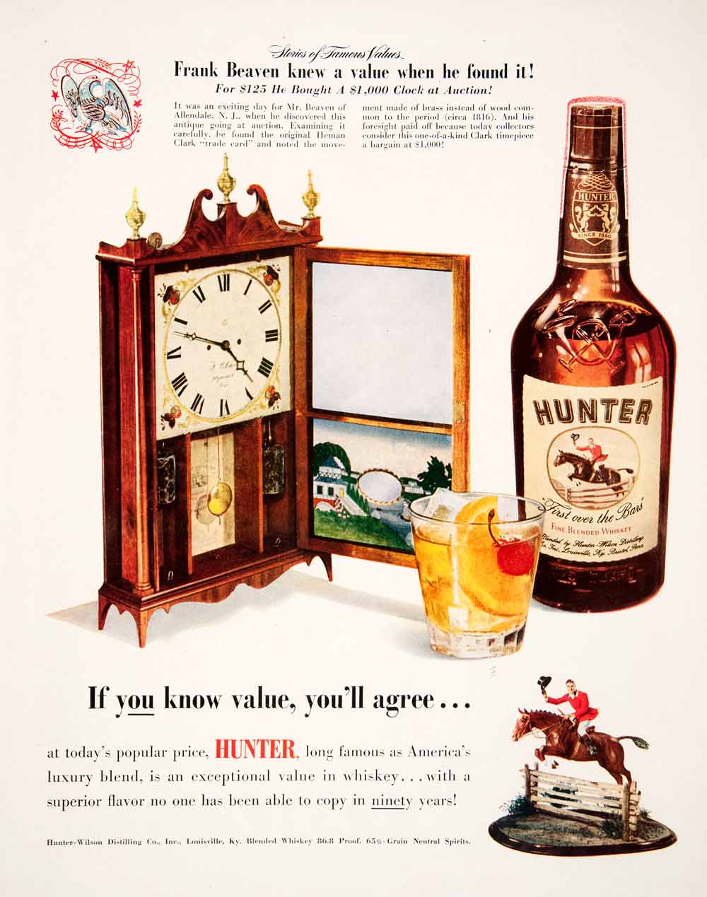 Collectibles Original Print Ad 1950 Hunter Blended Whiskey If You Know Value