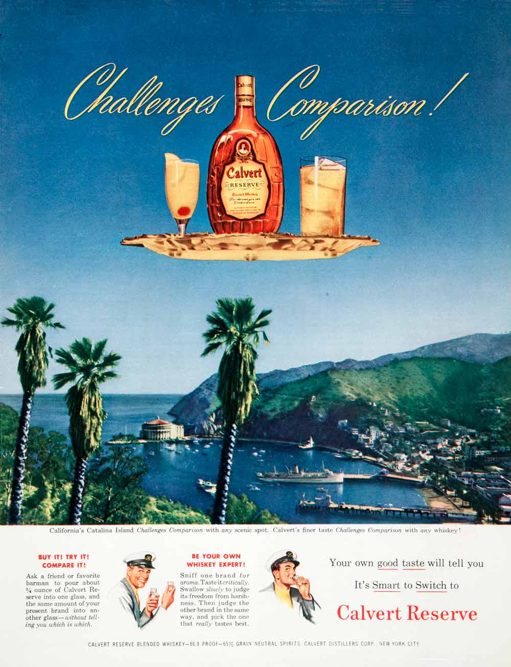 1950 Ad Calvert Reserve Distilleries Blended Whiskey Catalina Island COLL1