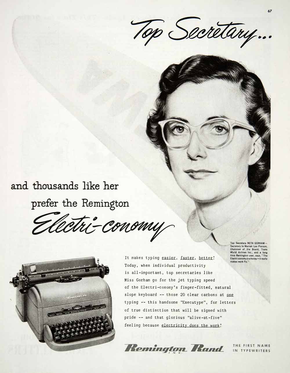 1950 Ad Remington Rand Typewriter Electri Conomy Secretary Trans World COLL1