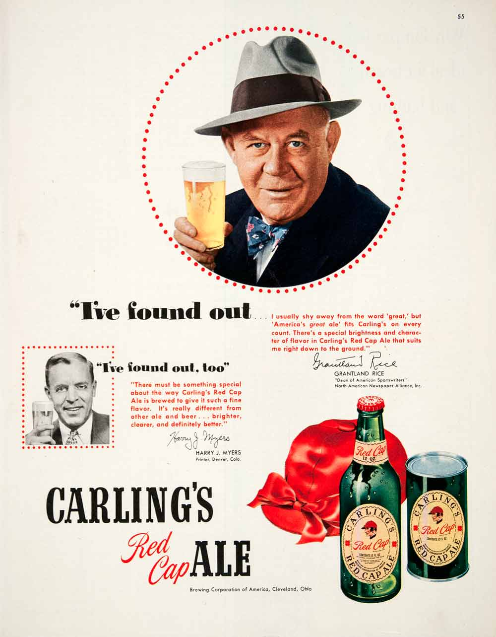 1950 Ad Carling Red Cap Ale Brewing Cleveland Toronto Harry Myers COLL1