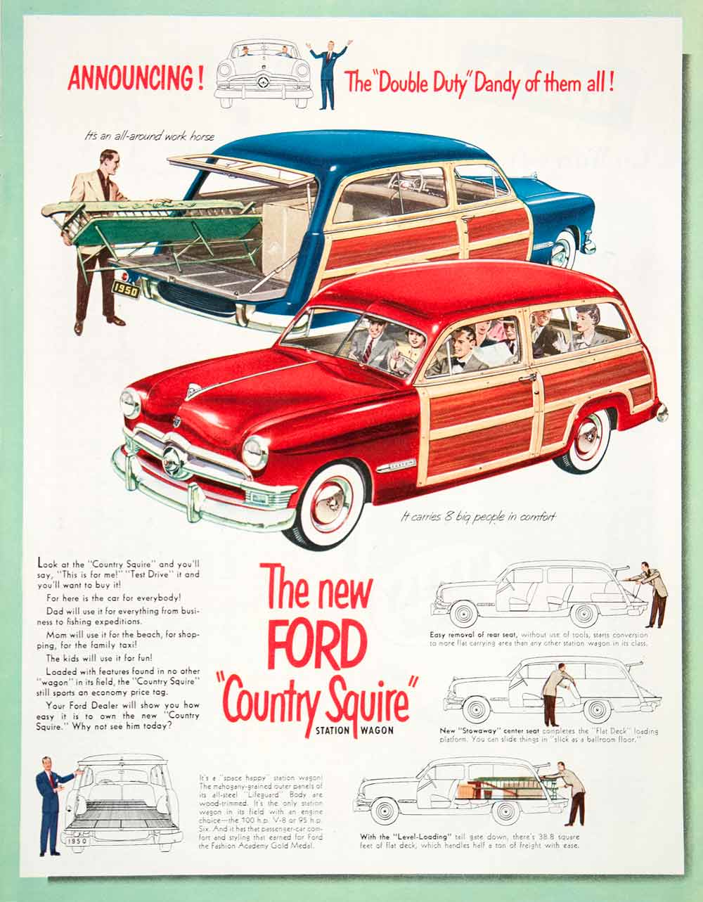 Ford Tagged Cars Page 3 Period Paper 1941 Station Wagon 1950 Ad Country Squire Motor Vehicles Dearborn Coll1