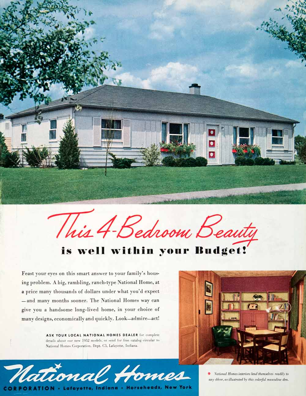 1951 Ad Four Bedroom Ranch House National Homes Horseheads Modular Ranch House Designs New Color on