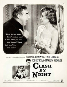 1952 Ad Clash By Night Movie Barbara Stanwyck Marilyn Monroe Paul Douglas COLL2