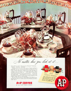 1950 Ad A&P Coffee Food Stores Dinning Table Eight O'Clock Blend Mild Bean COLL2
