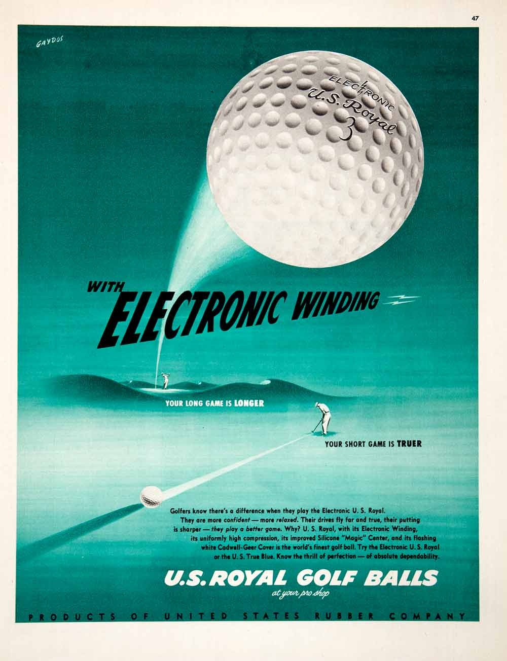 1951 Ad Electronic Winding Royal Golf Balls United States Rubber Sport COLL2