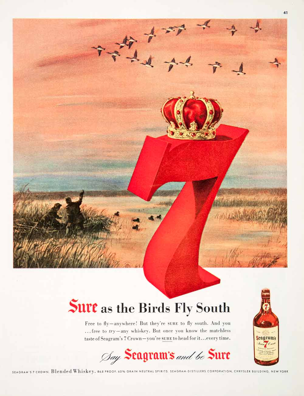 1950 Ad Seagram's Seven Crown Whiskey Alcohol Distiller New York Birds COLL3