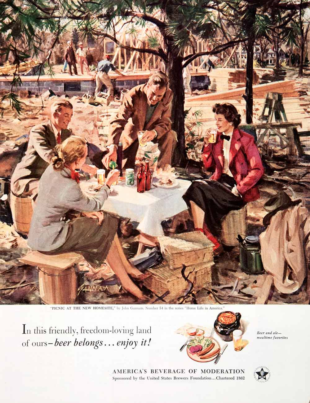 1951 Ad United States Brewers Beer John Gannam Picnic Alcohol Construction COLL3