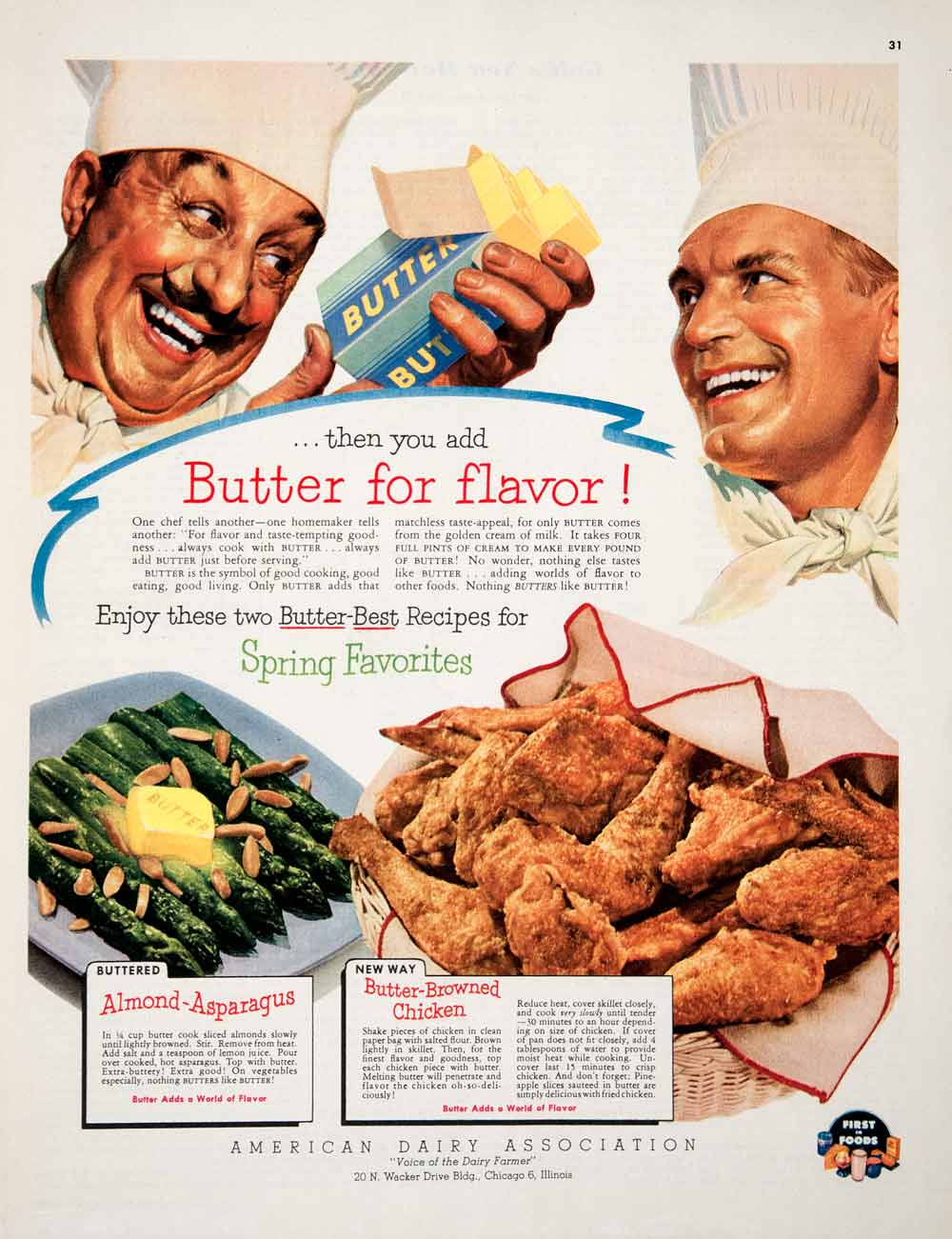 1952 Ad American Dairy Association Butter Almond Asparagus Browned Chicken COLL3