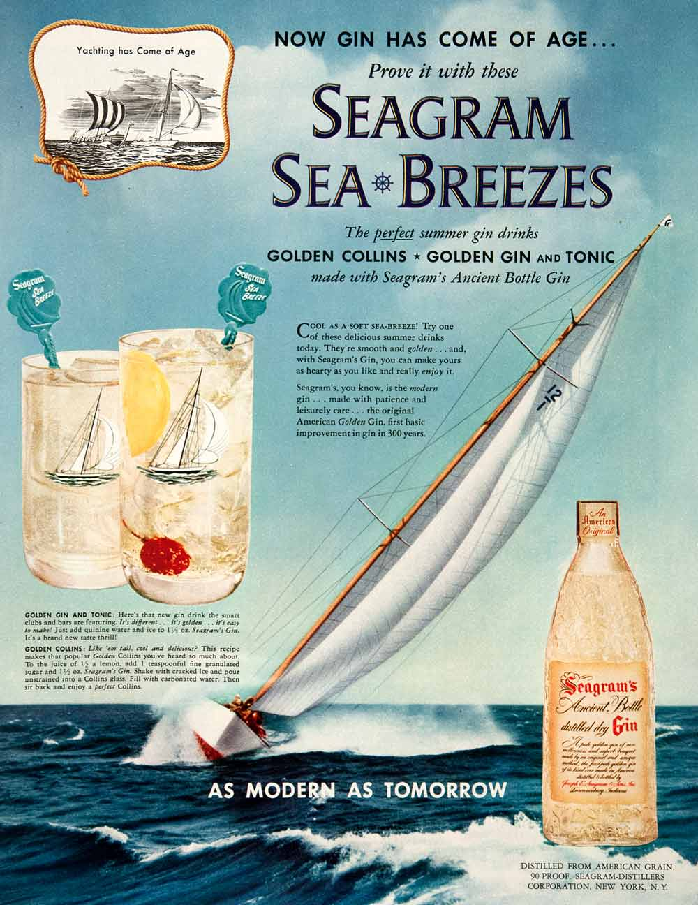 1952 Ad Seagram's Distilled Dry Gin Tonic Collins Yachting Ancient Bottle COLL3