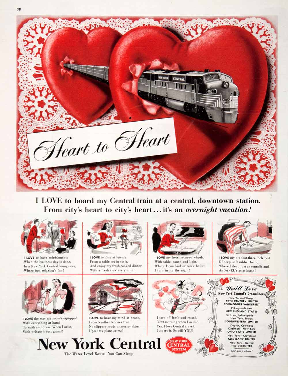 1951 Ad New York Central Railway System Dreamliner Heart Diner Lounge COLL3