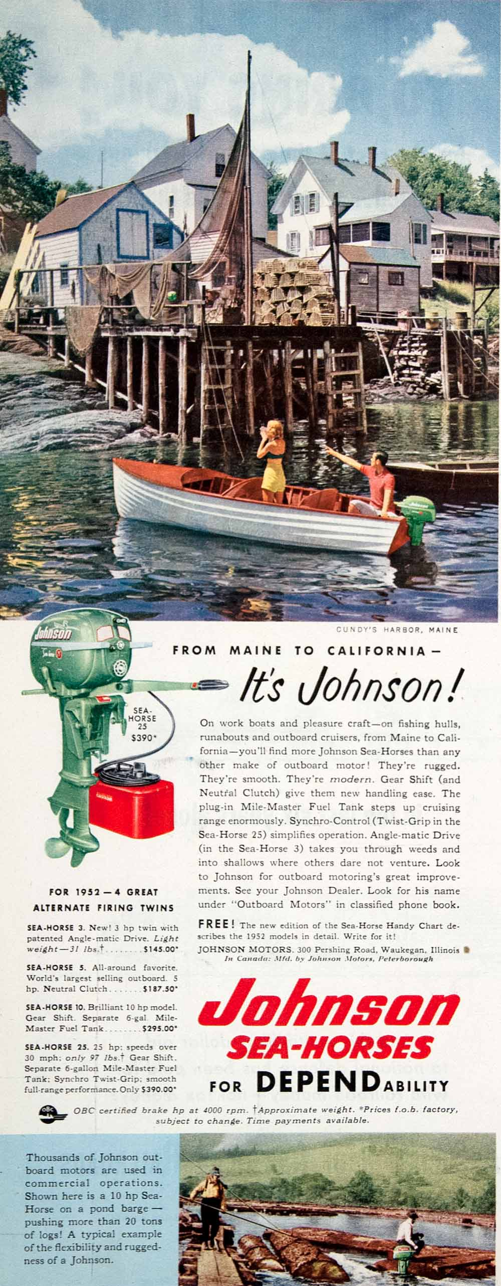 1952 Ad Johnson Sea Horse Outboard Motor Cundy's Harbor Maine Logging COLL3