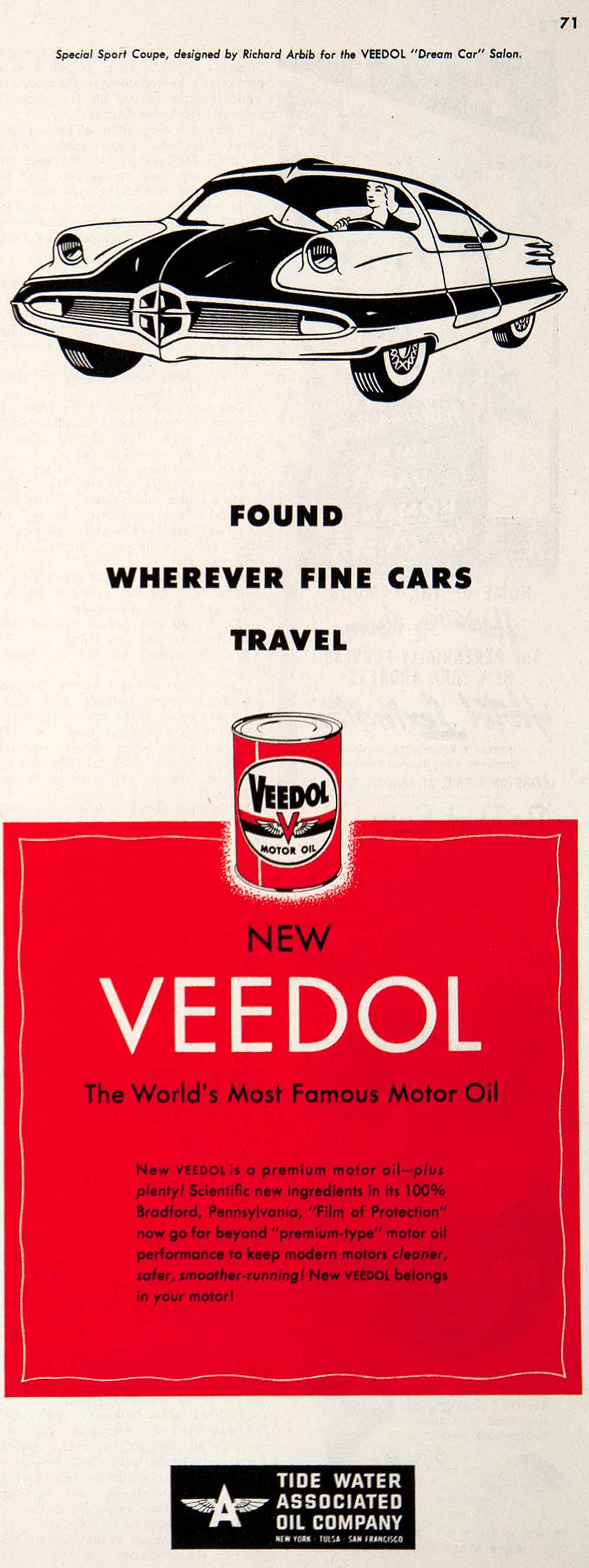 1951 Ad Veedol Motor Oil Tide Water Richard Arbib Special Sport Coupe COLL3