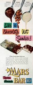 1951 Ad Mars Candy Bar Roasted Almonds Nougat Milk Chocolate Sundae Dime COLL3