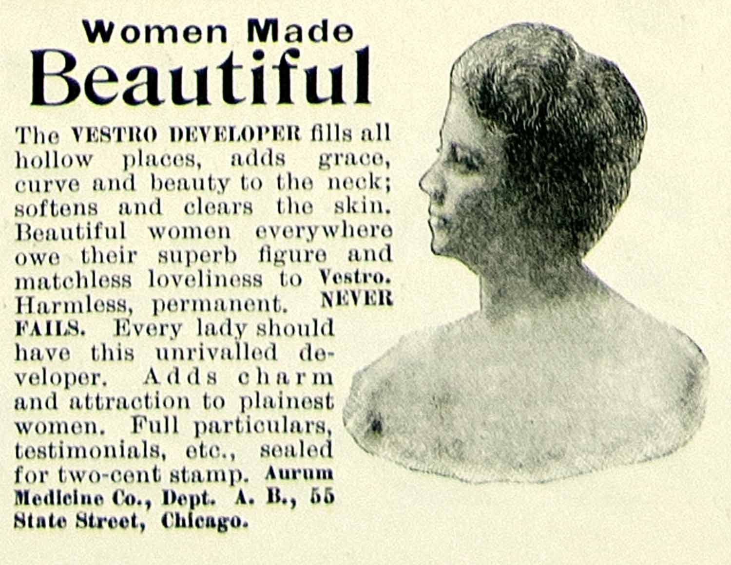 1899 Ad Aurum Medleine Company State Street Chicago Illinois Vestro Beauty COLL4