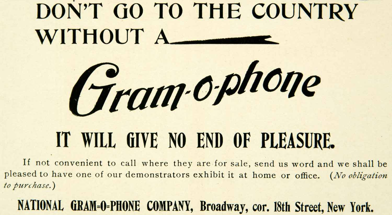 1899 Ad National Gram-o-phone Exhibit Advertising Advertisement Phonograph COLL4