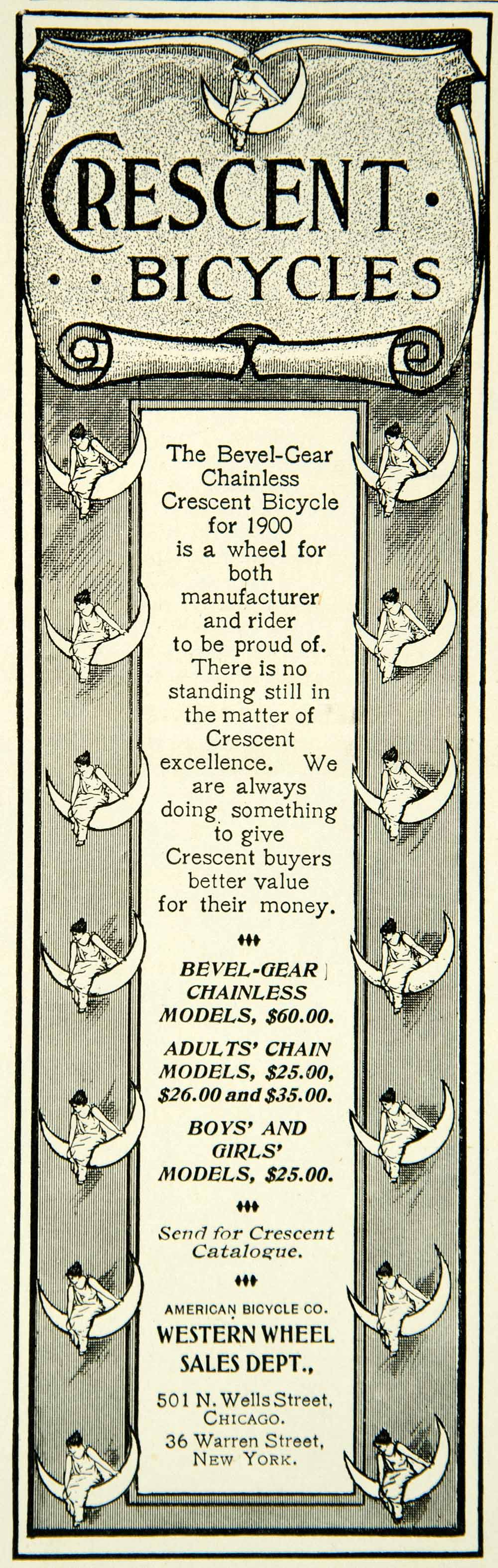 1900 Ad Crescent Bicycles Western Wheel Sales Chicago Illinois American COLL4