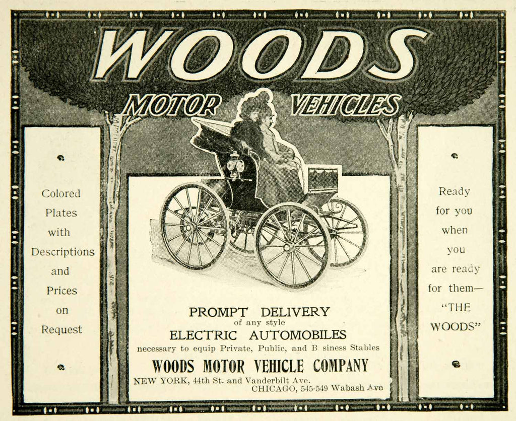 1900 ad woods motor vehicles chicago illinois carriage Motor vehicle chicago